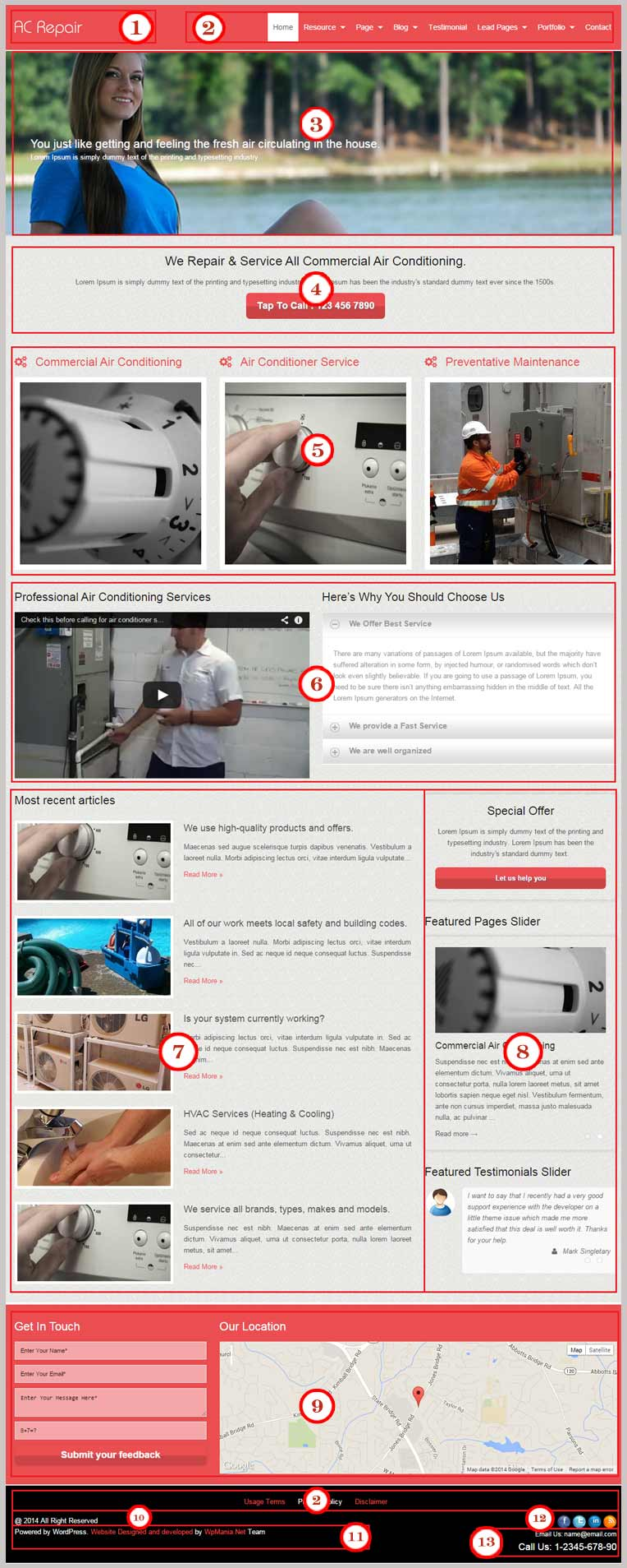 Ac Repair WordPress Theme Documentation