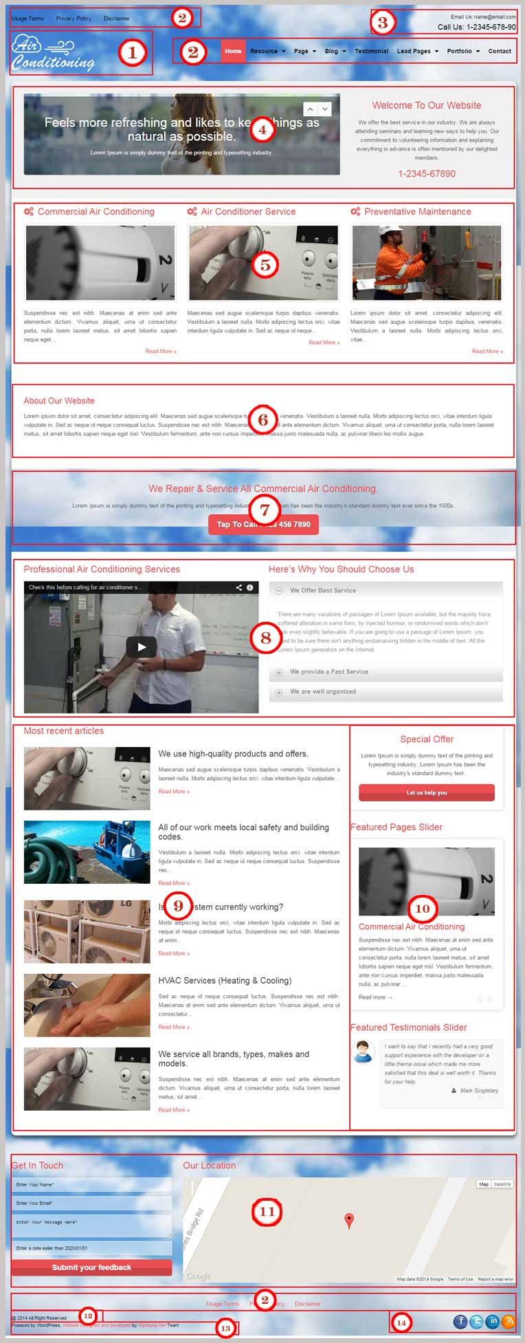Air Conditioning WordPress Theme Documentation