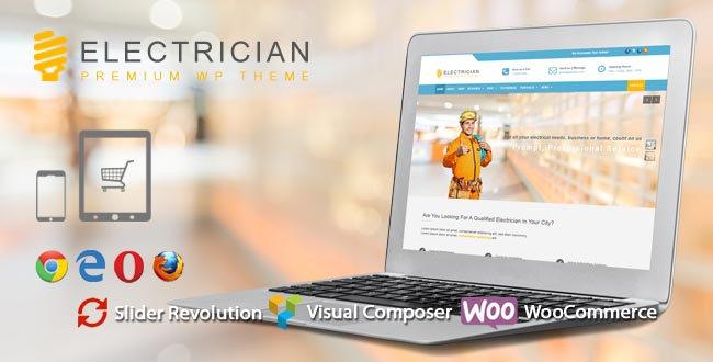 Electrician WordPress Theme -Website template for electricians
