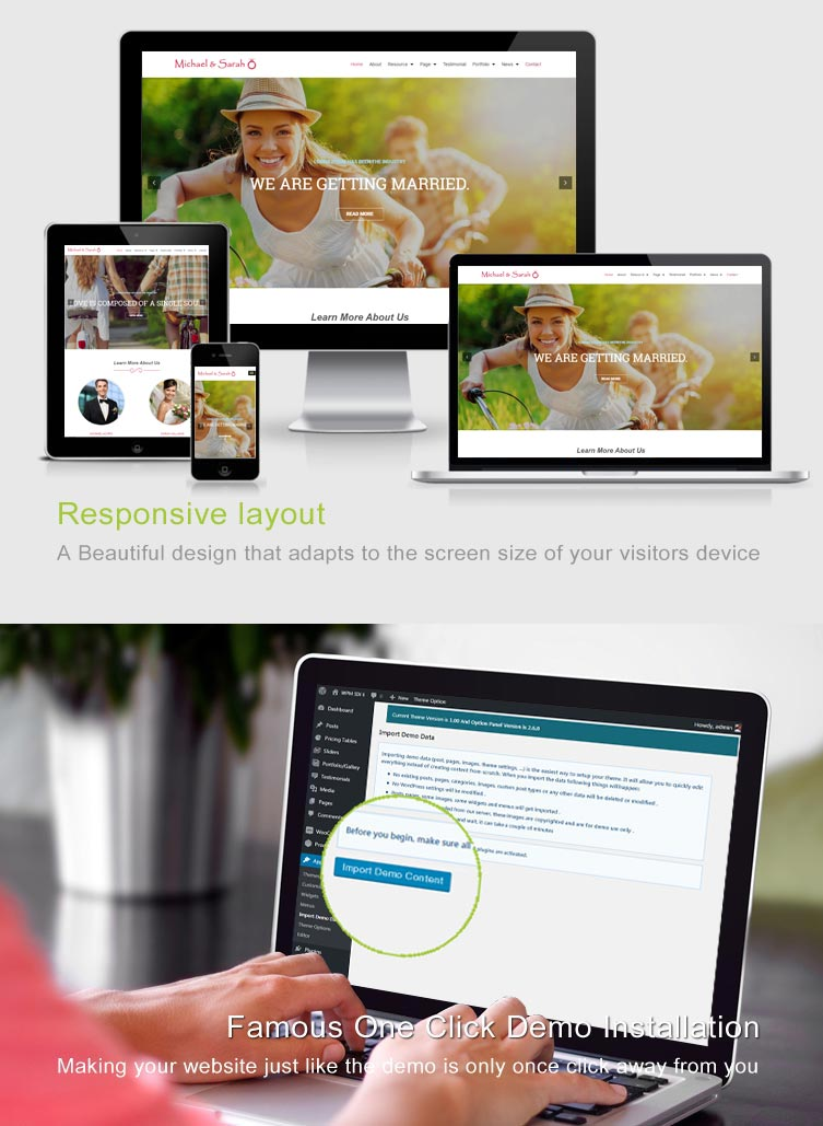 Bond - Responsive Wedding WordPress Theme Features