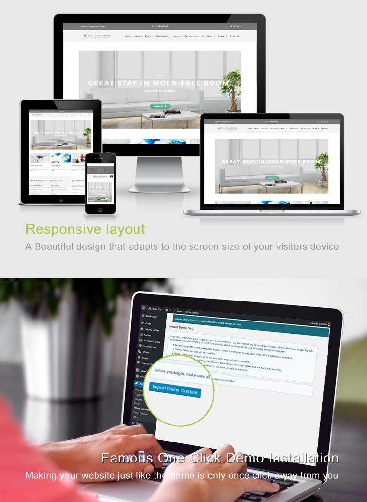Mold Remediation Services WordPress Theme Features