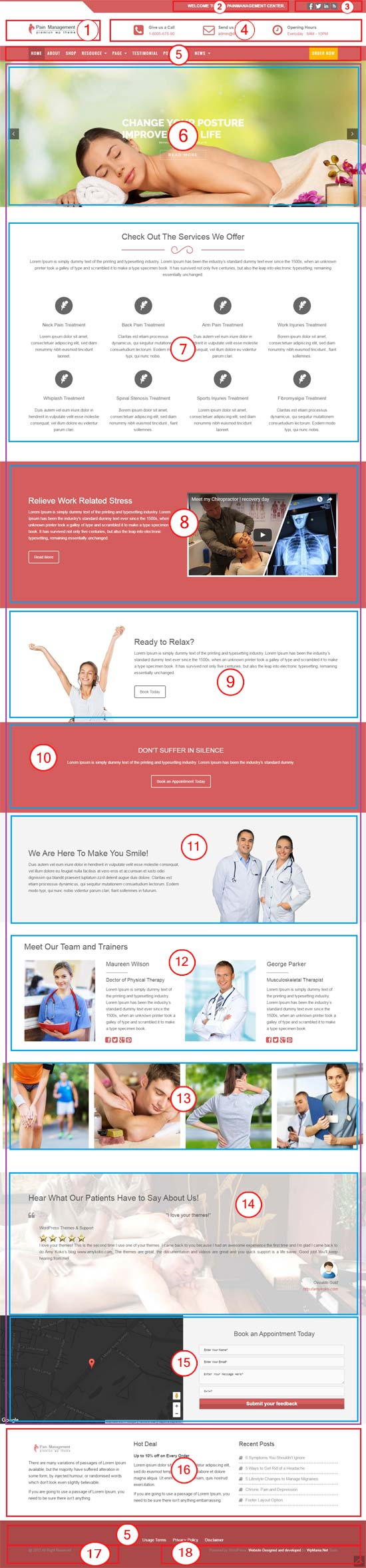 Pain management physiotherapy health care wordpress for Pain management templates