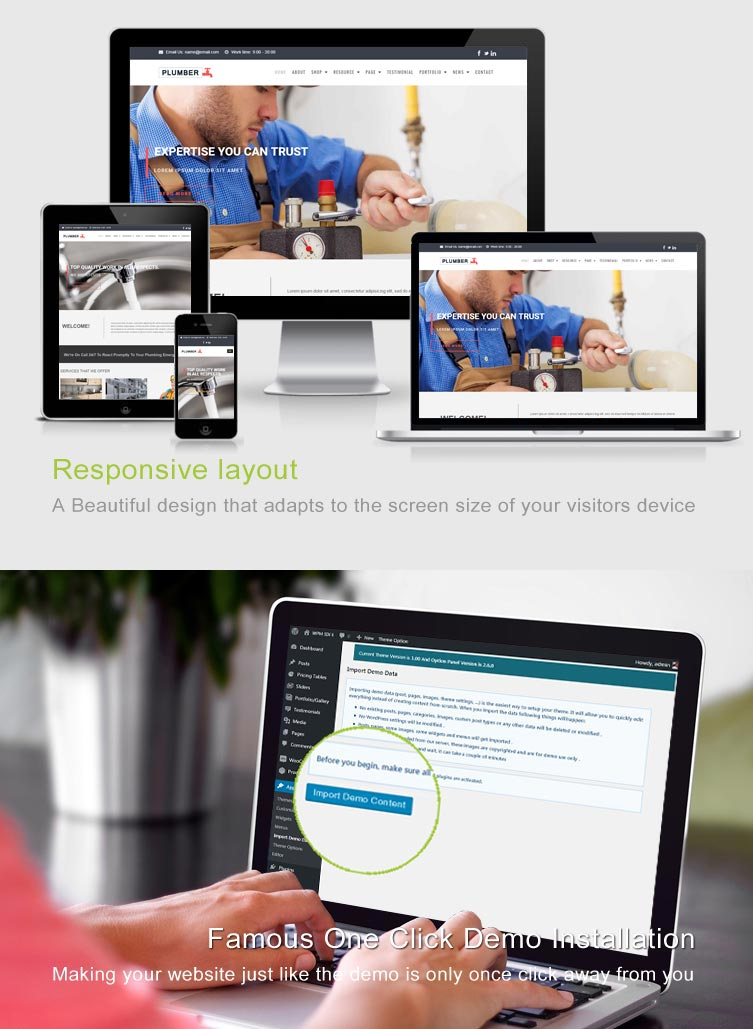 Plumber WordPress Theme Features