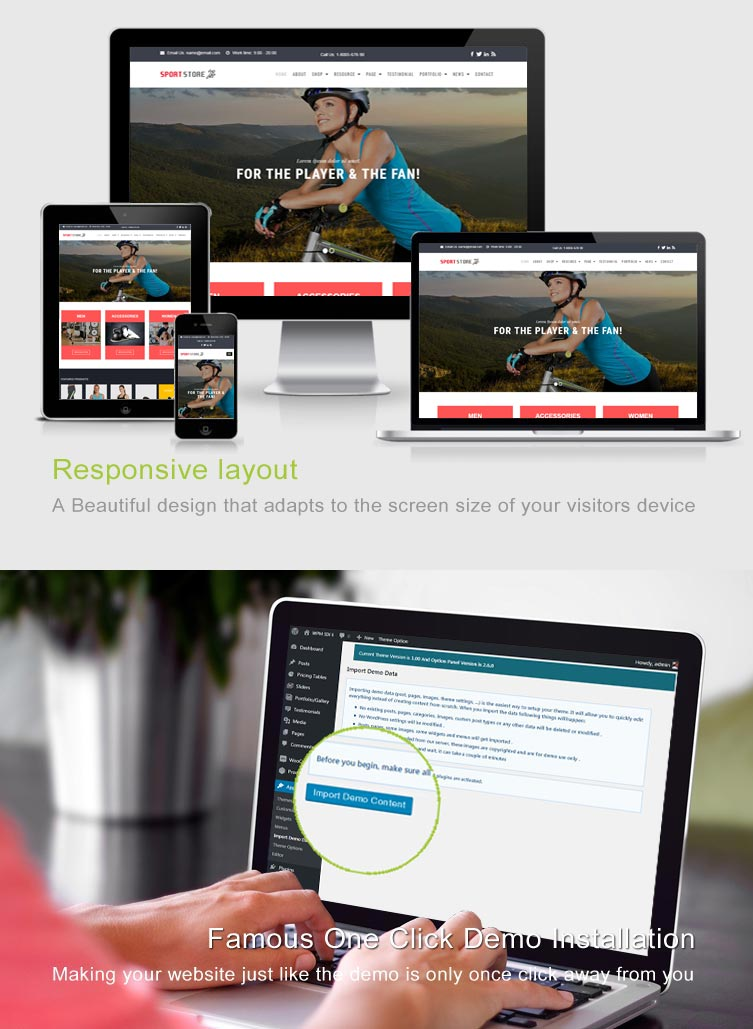 Sport Store - WooCommerce WordPress Template Features